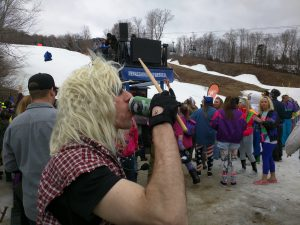 80s Day Loon, slopeside apres ski party next to Seven Brothers