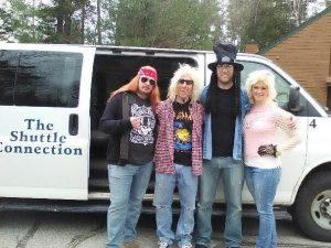 The band (Axl, Slash, Jem, Rick Allen) posing for The Shuttle Connection at Deer Park Resort