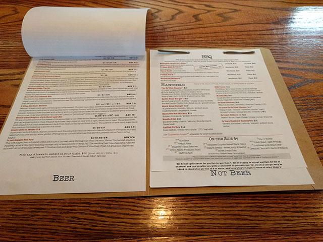 The beer and food menu