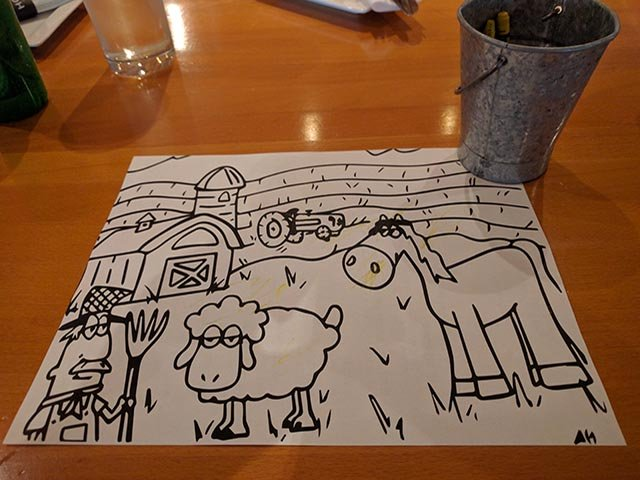 The back of the kid's menu is ready to be drawn on
