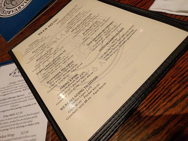 John Harvard's beer menu
