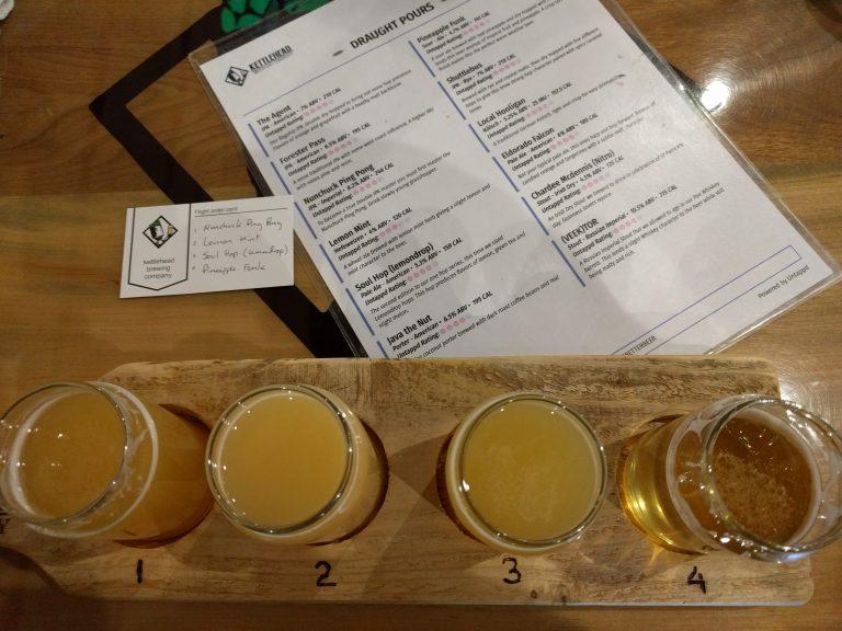 Kettlehead Brewing Company beer flight