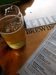 Drinking a pint at the Kettlehead Brewing Company, Tilton, NH
