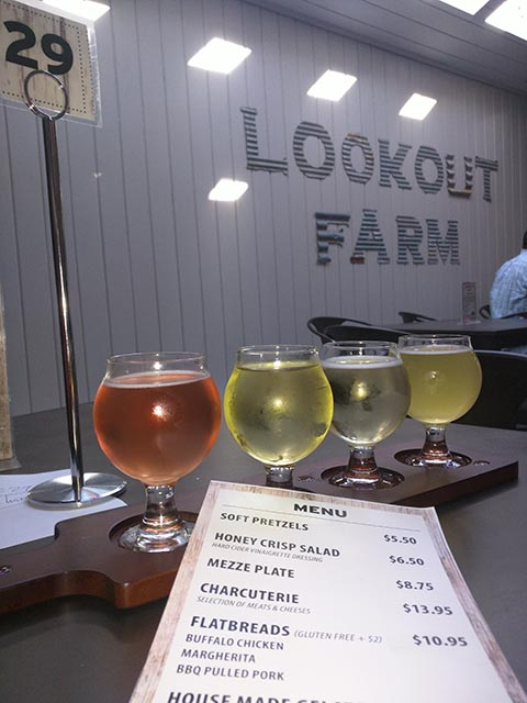 A flight of different ciders at the Lookout Farm Taproom in South Natick (MA)
