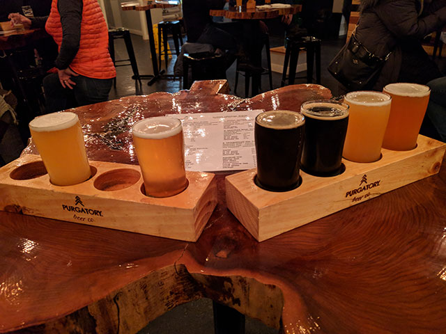 Flight of beers at Purgatory Beer Co.