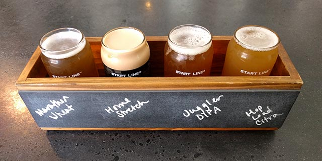 A Start Line Brewing beer flight