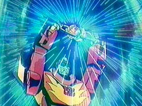 Hot Rod becoming Rodimus Prime with the Autobot Matrix of Leadership