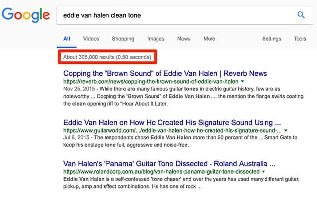 Search results for the term: Eddie Van Halen clean tone